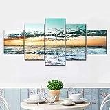 hgjfg Cuadro Moderno En Lienzo 5 Piezas XXL Sunset At Cancun Retro Pop HD Abstracta Pared Imágenes Modulares Sala De Estar Dormitorios Decoración para El Hogar 150X80Cm