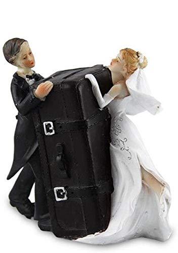Hochzeitspaar mit Koffer Spardose (ca.12,5cm)