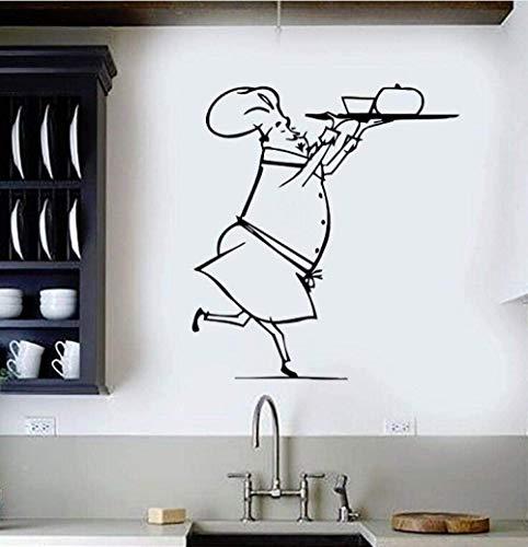 UYEDSR Pegatinas de Pared Calcomanía de Vinilo para Pared Restaurante Chef Pegatina de Pared diseño de Interiores Arte Mural cocinar Comida para Cocina Pegatinas de decoración 57x63cm