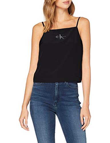 Calvin Klein Poly Satin Weave Camisole Camicia, Nero (CK Black Bae),...
