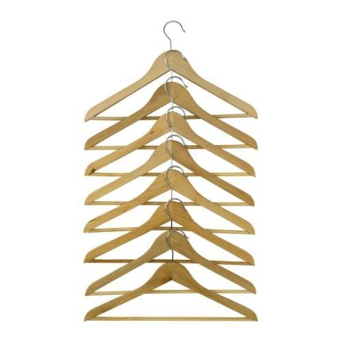 IKEA BUMERANG - Gebogener Kleiderbügel, Natur / 8er Pack