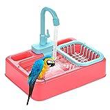 Bañera Para Pájaros, Comedero Para Pájaros Bañera Automática Para Loros Con Grifo Ducha Para Pájaros Alimentador Para Bañera De Baño Cuenco Para Loros Grifo Para Piscina Caja De Baño Para Pájaros