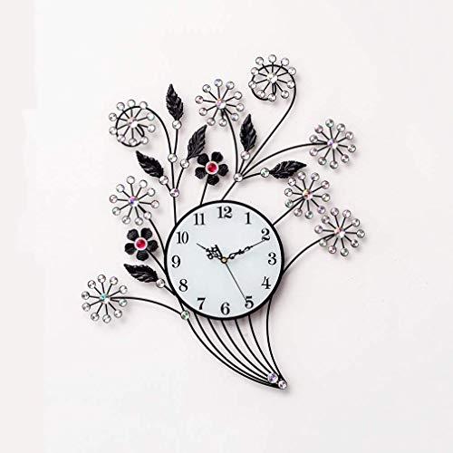 MingXinJia Relojes de Cabecera para el Hogar Reloj de Pared Europeo para el Hogar Taladro de Cristal Sala de Estar Sencilla Y Tranquila, Relojes de Pared de Hierro Forjado