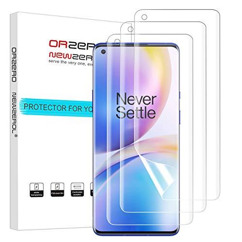NEWZEROL 3 stück Ersatz für OnePlus 8 Pro Schutzfolie(Korrigiert) In-Screen-Fingerabdruckerkennung [Premium-Qualität] Anti-Bubble TPU 3D Edge-to-Edge [Vollabdeckung] Soft-Bildschirmschutzfolie