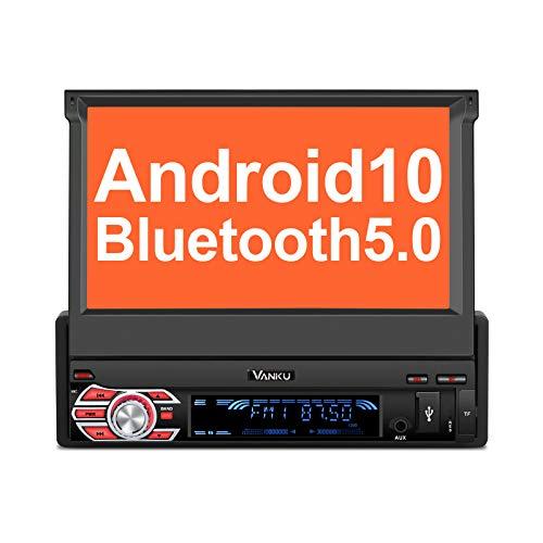 "Vanku Android 10 Radio 1 DIN con GPS Navegador, Autoradio Pantalla Android soporte Bluetooth, Control Volante, WiFi, USB, SD, Subwoofer, Mirror-Link, con 7"" Pantalla Táctil"
