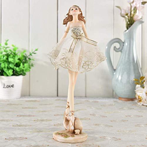 PIVFEDQX Decoración de Personajes de Resina Adorno de Escritorio Bailarina Regalo de niña Hermosa Estatua de Modelado, D + Height25cm