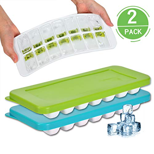 Ice Cube Trays with Lid, Flexible Easy-Release Silicone and Plastic 14-Ice Food Grade Duarble Trays Mold with Spill-Resistant Removable covers, BPA Free, Reusable ice cube Maker(Blue/Green)