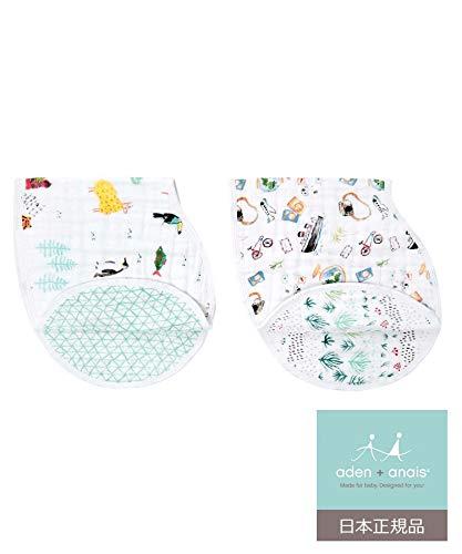 aden + anais (エイデンアンドアネイ) 【日本正規品】 モスリンコットン バーピービブ 2枚セット (ナイトス...
