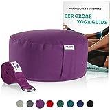 NAJATO Sports Meditationskissen – Mit Yoga Gurt & E-Book – Yogakissen mit Buchweizenschalen-Füllung – Rundes Yogakissen mit waschbarem Bezug aus Baumwolle