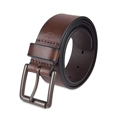 Dockers Men's Casual Leather Belt - 100% Soft Top Grain Genuine Leather Strap with Classic Prong Buckle, Brown,32