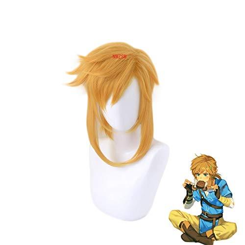 Link peluca corta de cola de caballo disfraz de Cosplay la leyenda de Zelda Breath of the Wild pelucas de fiesta de carnaval de pelo sinttico resistente al calor
