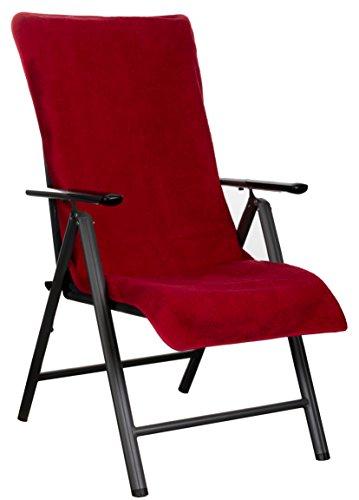 Brandsseller Frottee-Schonbezug für Gartenstuhl und Gartenliege sowie als Strandliegenauflage - aus 100% Baumwolle - ca. 65 x 130 cm (Rot)