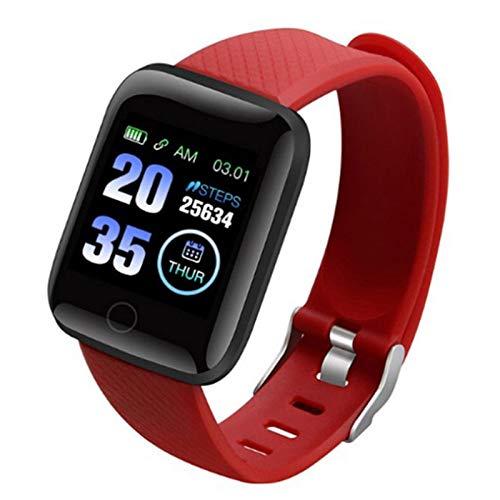Wsaman Reloj de Pulsera Deportivo con Bluetooth, Monitor Rítmo Cardíaco y Sueño,con Pantalla de 1.3 Pulgadas, para Hombre Mujer Niño, Pulsera de Fitness,Rojo