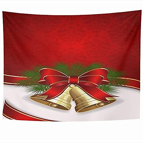 Tapices para colgar en la pared Celebración de Navidad blanca Campanas de dos hojas Lazo Resplandor Texturas Tintineo de Navidad Ornamental Satén Vacaciones Tapiz Manta de pared Decoración del hogar S