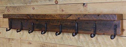 NorthShore Reclaimed Wood 48 Coat Rack Shelf with 8 Railroad Spike Hooks 48