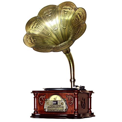 Best Prices! Kengsiren Nostalgic Wooden Gramophone Retro Living Room European Big Horn Antique Vinyl...