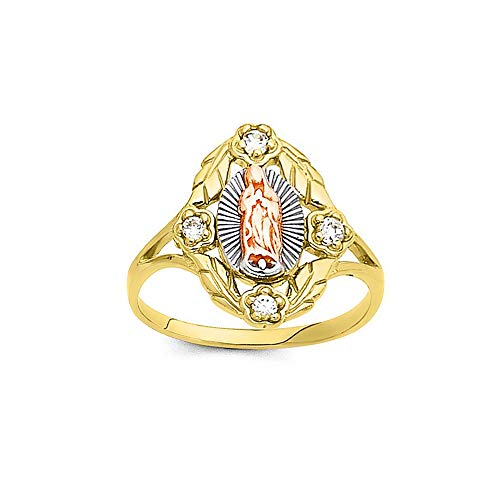 Savlano 18K Gold Plated Yellow White & Rose Tri Color Lady of Guadalupe Virgin Mary with 4 Round Cut Cubic Zirconia Women's Girl's Religious Ring Comes With Gift Box