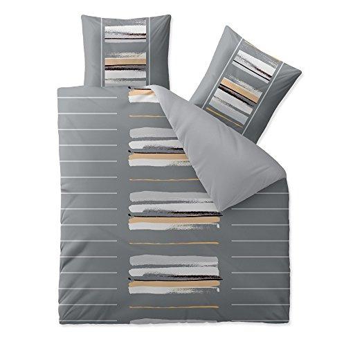 aqua-textil Trend Bettwäsche 200x220 cm 3tlg. Baumwolle Bettbezug Hanaa Streifen Grau Weiß Beige