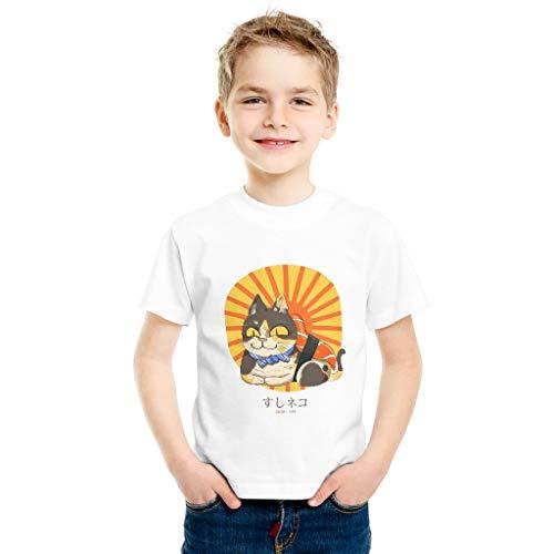 Baumwoll T-Shirt Sushi Cat Jungen Feuchtigkeit Stilvoll Kurzes Hemd White x-small