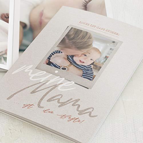 sendmoments Mini Fotobuch, Mama, kompakt auf 16 Seiten, im vertikalen C6 Format, personalisiert mit Wunschbildern & -Text, Bilder-Büchlein als Erinnerung oder zum Verschenken