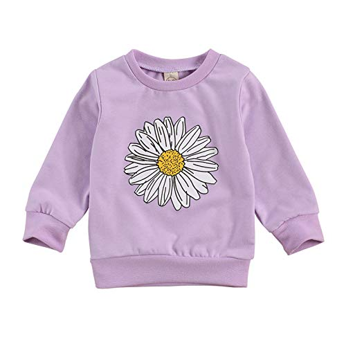 Toddler Baby Girl Long Sleeve Daisy Print Pullover Sweatshirt Fall Crewneck Sweater T-Shirt Tops Winter Clothes (Purple, 3-4T)