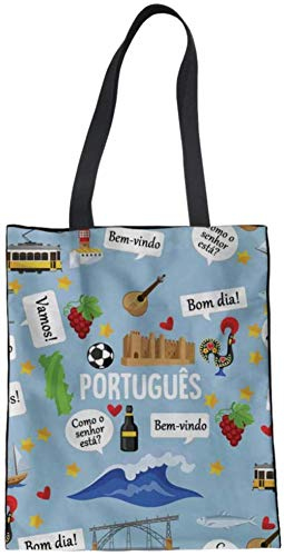 Bolsa Tote De Impresión,Bolso De Mano De Lona 3D Lindo Patrón De Cultura De Portugal Lienzo Mujer Bolso Multifunción Bolsos De Viaje Bolsos Escolares De Compras Ocasionales