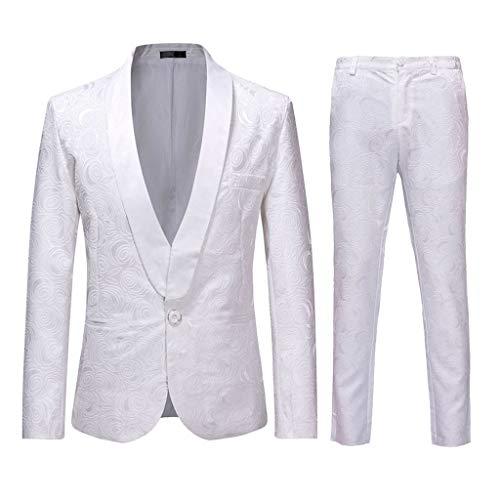 Lenfesh bröllopskläder män bröllopsgast kostym slim Fit 2-delad business män vit smoking kostym festlig bröllop party sakko jacka Hose set
