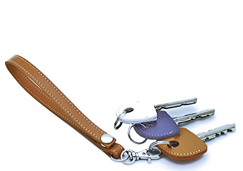 HERBE レザー ストラップ キャメル  1個 ・ キーカバー 3個 セット 牛革  ハンドストラップ キーキャップ 鍵の識別 鍵の番号 NO. 隠しに
