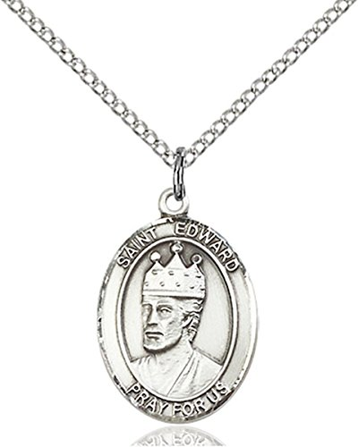 Sterling Silver Saint Edward the Confessor Medal Pendant, 3/4 Inch