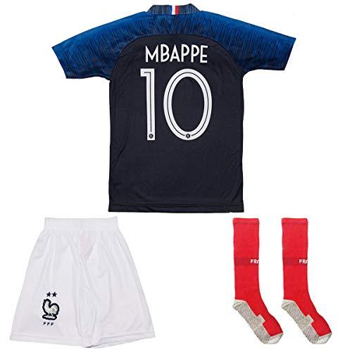 Frankreich # 10 Mbappe 2018 Heim Kinder Trikot und Hose mit Socken (128)