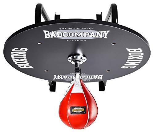 Profi Speedball Plattform Set inkl. Drehkugellagerung schwarz und Leder Boxbirne medium rot/Boxapparat für die Wandmontage