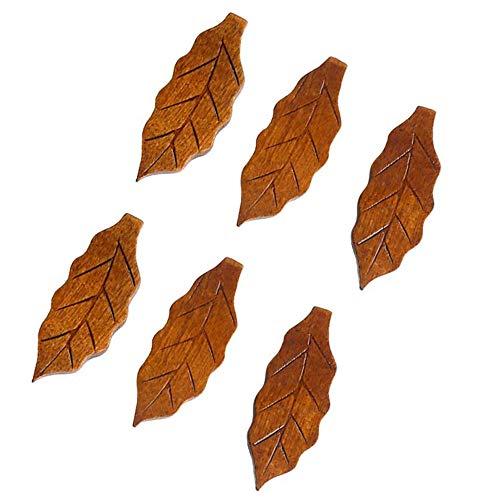 Stäbchenhalter Messerbänkchen Besteckablagen,Natural Wood Blatt Form 6 Stück Holz Bänkchen klassischer Entwurf Restaurants Zubehör,Essstäbchenablage Küche Lebensmittel Sticks Gabel Halter Halterung