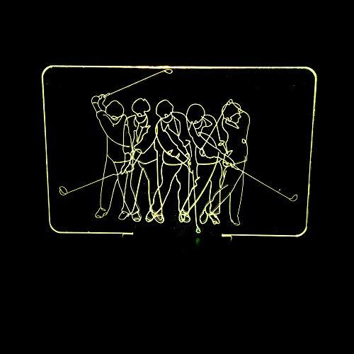 BFMBCHDJ Neue und exotische kreative geschenke golf led nachtlicht 3d geburtstagsgeschenk nachttischlampe a1 schwarz basis