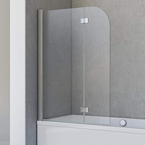 Schulte Badewannenfaltwand Breathe, 2-teilig 106 x 142 cm, 5 mm Sicherheitsglas (ESG) Klar hell, Chromoptik, Montage auf Badewanne, D693476208 41 50