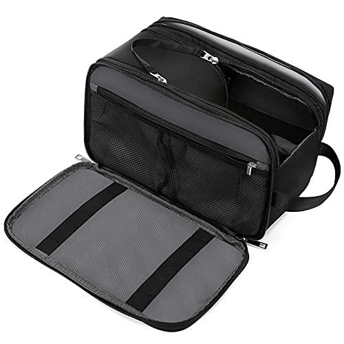 LOVEVOOK - Neceser impermeable para hombre con compartimento para ropa húmeda, bolsa de aseo para viajes, de piel, black(canvas), large,