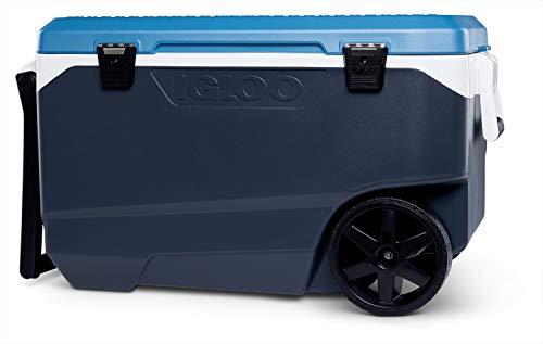 Igloo Maxcold Latitude 90 Roller Nevera con Ruedas, 85 litros, Gris/Azul