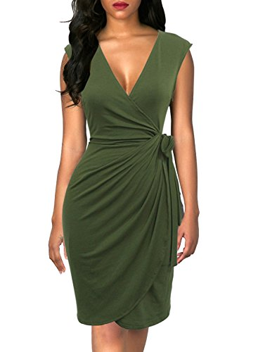 Berydress Women's Classic Cocktail Party Cap Sleeve Deep V Neck Draped Waist Tie Belt Knee-Length Faux Wrap Dress (L, 6028-Army Green)