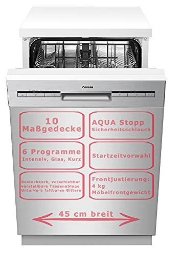 Amica Einbau Geschirrspüler 45cm unterbaubar, Aqua Stopp, 10 Maßgedecke EGSPU 500 910-1 E