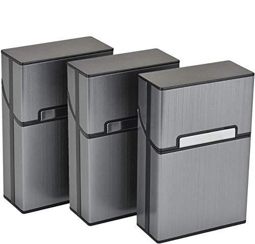 Aluminium Zigarettenetuis von eLander [3er/Set, Grau] Magnetisierte Deckel, Elegante Entwurf Aluminium Zigaretten Kasten
