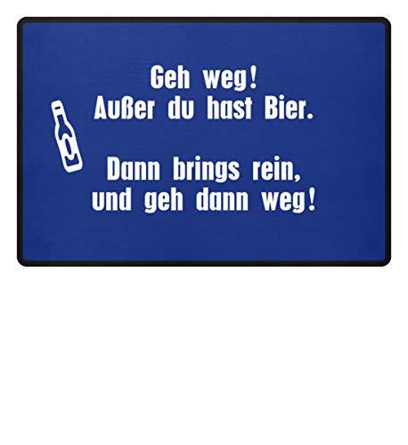 Shirtee GEH WEG ! AUSSER DU HAST BIER - Fußmatte -60x40cm-Royal Blau