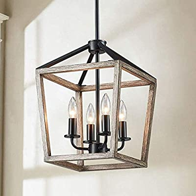 """Saint Mossi Antique Bronze Oaky Painted Chandelier with 4 Lights,Metal Island Lighting,Farmhouse Industrial Country Pendant Light Fxiture for Living Room,W12""""xH60"""" with Adjustable Rods"""