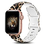 BYH Compatible with Apple Watch Band 44mm 42mm for Women Men Ladies Girl Cute Fadeless Floral Soft Silicone Sport Smartwatch Strap Wristband for iWatch Series 6 5 4 3 2 1 SE Leopard Cheetah Print S/M