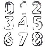 Iaywayii Stück Large Metal Anzahl Shaped Ausstecher Set Edelstahl Cutter einschließlich Zahlen 0 Perfekte Formen für Backen-Plätzchen-Kuchen, Zuckerglasur-Fondant und Sugar Arbeit