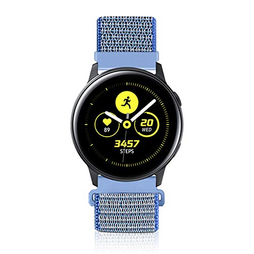 Vodtian 20mm Schnellwechsel Uhrenarmband für Samsung Galaxy Watch 42mm / Active2 44mm 40mm /Gear Sport/Gear S2 Classic/Garmin Vivoactive 3, Nylon Ersatz Sport Armband (20mm, Tahoe Blue)