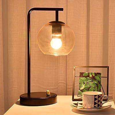 Berliget Industrial Matte Black Metal Glass Desk Table Lamp, Vintage Farmhouse Bedside Table Lamp Nightstand Lamp for Bedroom Dining Room Office