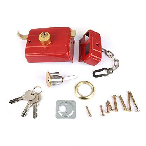 Cilinderslot Heavy Duty Deadbolt Rim Lock Beveiliging Deurslot Dead Bolt Lock met Sleutels voor Voordeur Rode Nachtslot Geschikt voor Gate Single