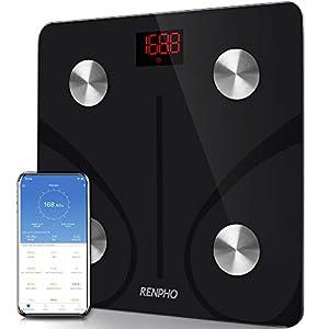 RENPHO Bilancia Pesapersone Intelligente Bluetooth Digitale con App - Misura Peso Corporeo, Massa Grassa, BMI, Massa Muscolare, Massa Ossea, Proteine, Nera