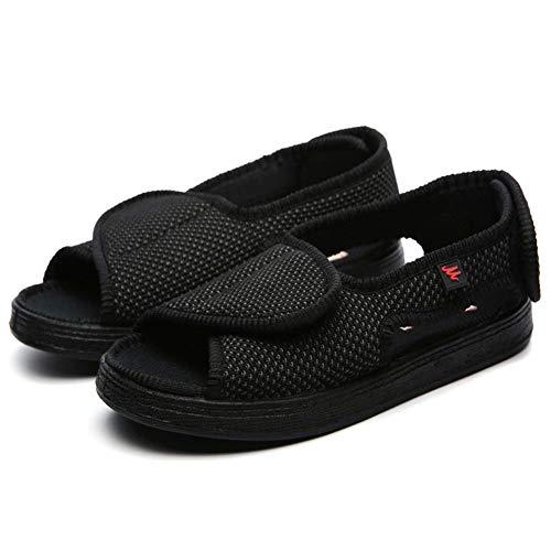 DSZZ Health - Zapatillas deportivas unisex con edema diabético para fascitis plantar, ortopédicos, extra anchos, fáciles de poner y quitar para los pies hinchados, artritis, negro, 42
