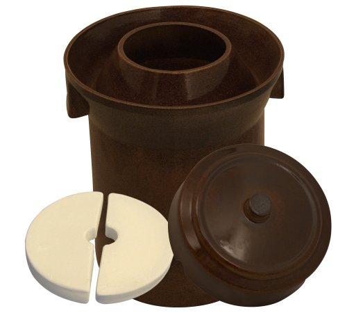 K&K Premium Gärtopf [Form 1] - 10.0 Liter aus hochwertiger Steinzeug Keramik inkl. Deckel und Stein - 15mm Wandstärke