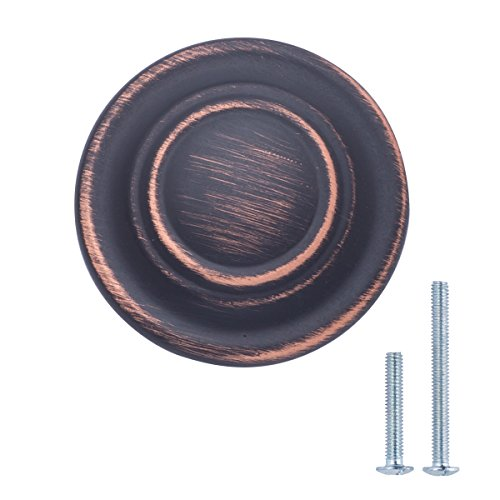 Amazon Basics Traditional Top Ring Cabinet Knob, 1.25-inch Diameter, Oil Rubbed Bronze, 25-Pack